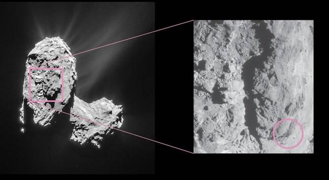 Comet landslide