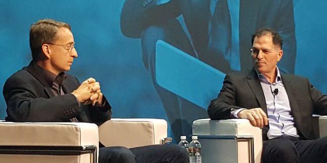 VMware CEO Pat Gelsinger and Dell CEO Michael Dell at VMworld 2016
