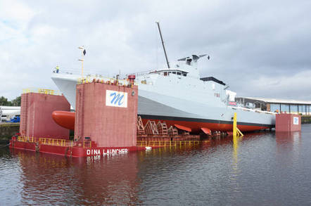 HMS Forth being lowered into the Clyde. Pic: BAE Systems