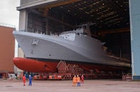 HMS Forth on her remote control trolley. Pic: BAE Systems