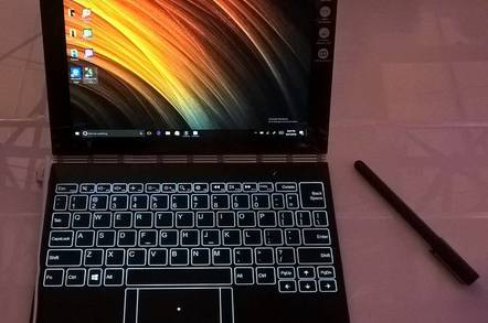 The Lenovo Yoga Book showing the virtual keyboard
