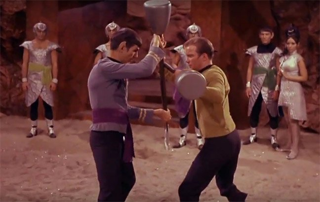 Kirk and Spock fight