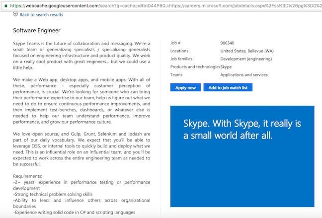Skype Teams job ad