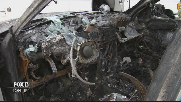 The burned Jeep