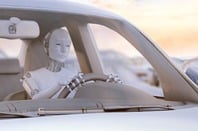Robot drives a car. Conceptual illustration from Shutterstock