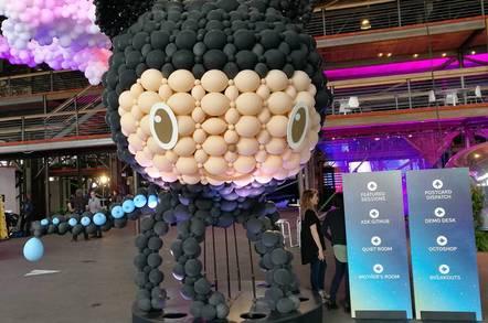 The GitHub mascot at GitHub Universe