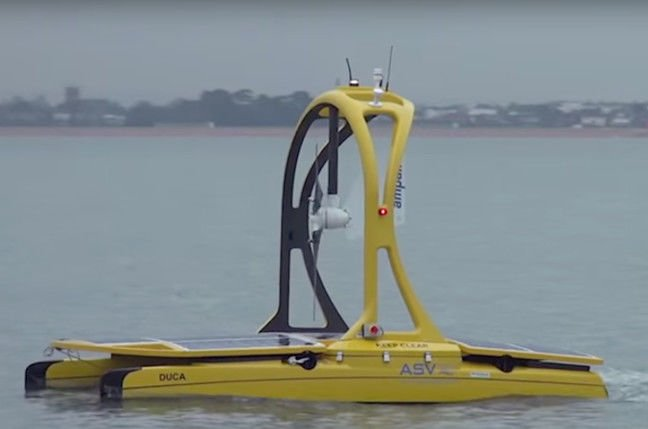 ASV Global C-Enduro robot boat. The fan is actually a wind turbine to power the electrics