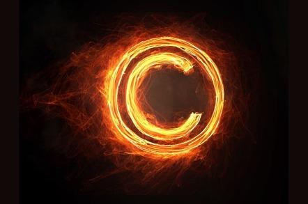 Burning copyright symbol. Photo by SHUTTERSTOCK