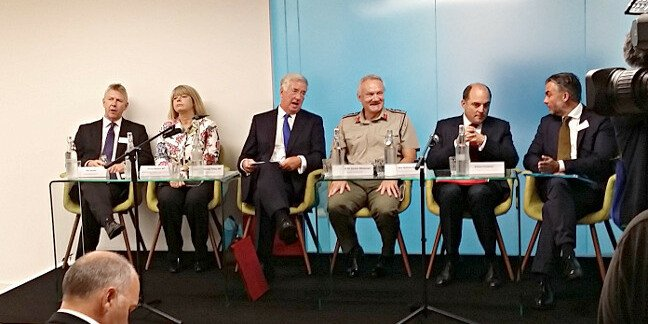 MoD tech creche launch panel. Features Def Sec Michael Fallon and Gen Sir Gordon Messenger RM, Vice-Chief of the Defence Staff