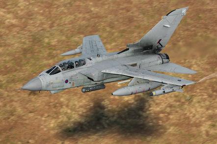 RAF Tornado GR.4 flying down the Mach Loop in Wales