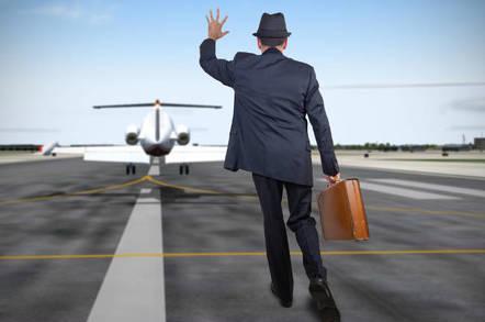 A man chasing a plane