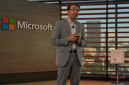 Microsoft's Judson Althoff, Executive VP of Commercial Business, briefing the press at Ignite