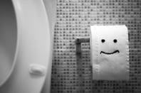 Toilet with smiling loo paper