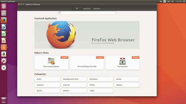 Ubuntu 16.10 beta 2 software center