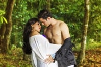 "Couple kissing - shirtless man with woman - ""romance novel cover"" style. Photo by shutterstock"