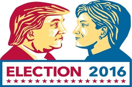 clinton vs Trump poster illustration. Photo by Shutterstock/editorial use only