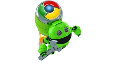 "Andromeda: ""Google Android"" bot taking off with Chrome power backpack. Image mashup of two SHutterstock stock images."