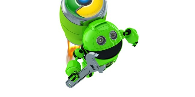 """Andromeda: """"Google Android"""" bot taking off with Chrome power backpack. Image mashup of two SHutterstock stock images."""