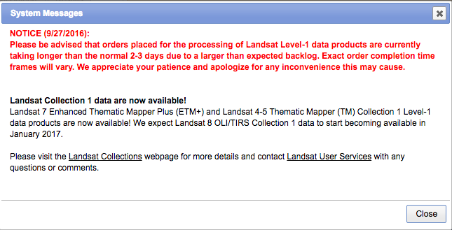 Landsat processing delay