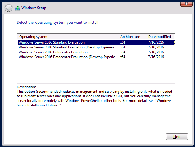 The default Windows Server 2016 setup is without a GUI