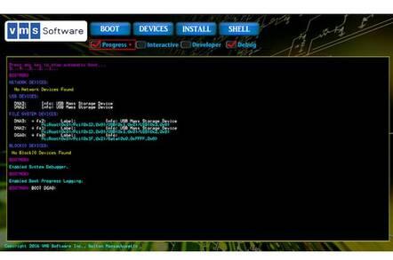 VSI OpenVMS x86 boot screen