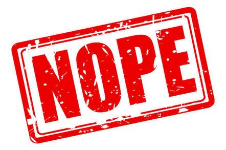 Stamped word 'nope'