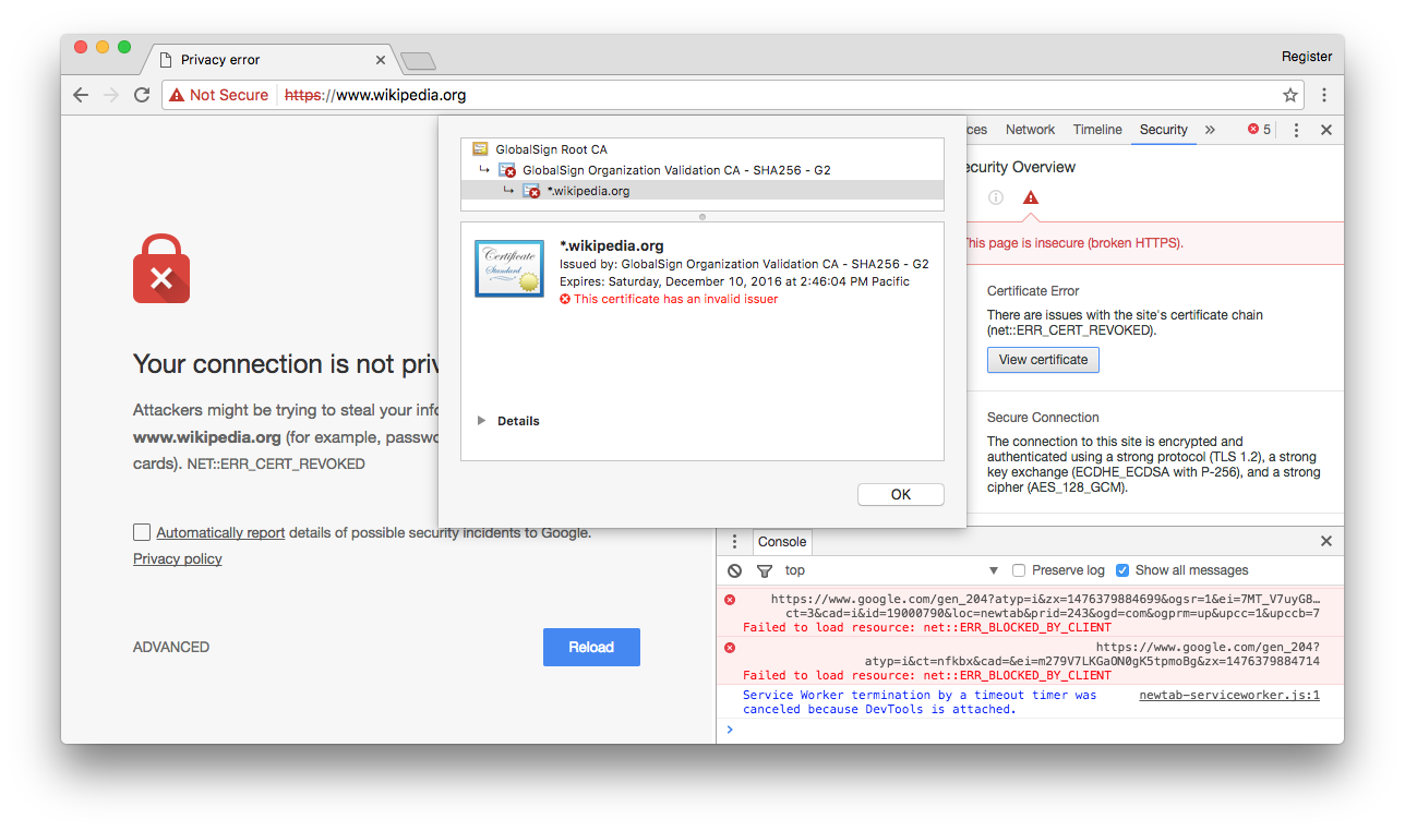 Globalsign screw up cancels top websites https certificates the wikipedia blocked in google chrome after its https cert was accidentally revoked click to enlarge xflitez Gallery