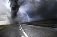 thunderclouds gather ... tornado on street