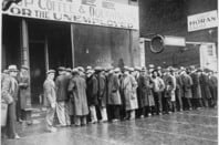Unemployed men queued outside a depression soup kitchen opened in Chicago by Al Capone U.S. Information Agency. (08/01/1953 - 03/27/1978)