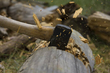 Axe Cutting Wood