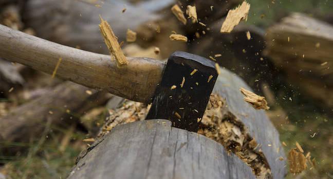 Axe Cutting Wood