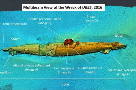 Sonar scan of German submarine UB-85 wreck