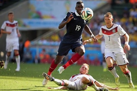 RIO DE JANEIRO, BRAZIL - JULY 04, 2014: Pogba of France and Hoewedes of Germany during the World Cup Quarter-finals game between France and Germany in the Estadio Maracana. NO USE IN BRAZIL.