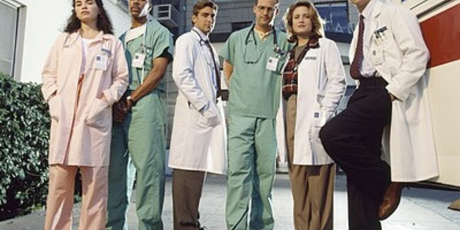 Cast of '90s show ER, from L to R: Julianna Margulies, Eriq La Salle, George Clooney, Anthony Edwards, Sherry Stringfield and Noah Wyle. Credits, images, characters and others all belong to Constant c Productions, NBC Universal, Amblin Television and Warner Bros. Television.