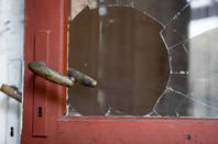 A broken front door