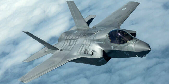 The UK's sole F-35B in flight. Crown copyright