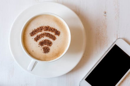 Wi-fi symbol as chocolate dusting on cappuccino foam. Photo by Shutterstock