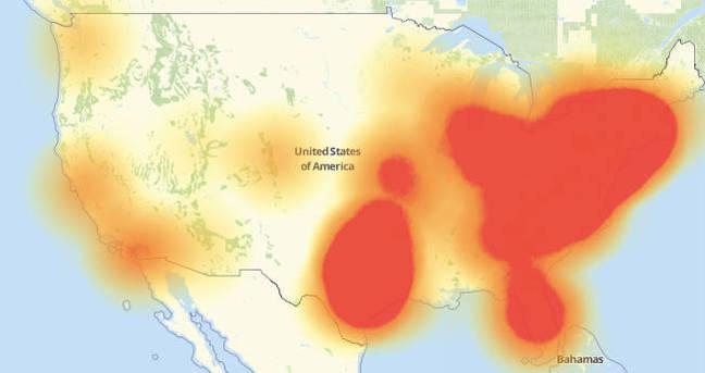 Down Detector map on November 2