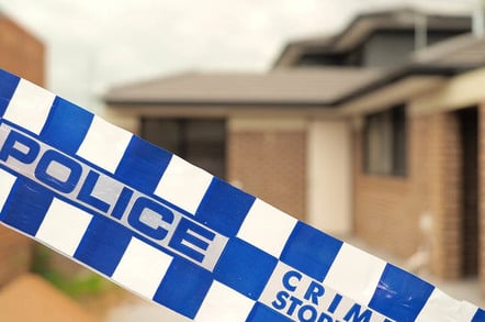 Melbourne, Australia -May 19, 2016: Blue and white Police tape cordoning off a building site like a crime scene, Australia 2016. Editorial Credit: STRINGER Image / Shutterstock.com   Editorial Use Only.