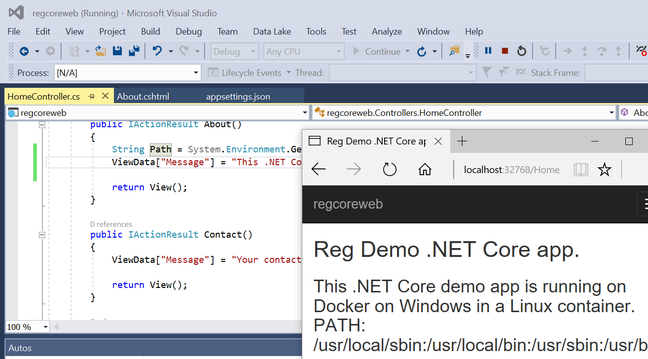 Visual Studio 2017 running ASP.Net Core in a Linux container on Docker on Windows