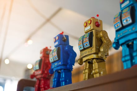 Robots massed photo via Shutterstock