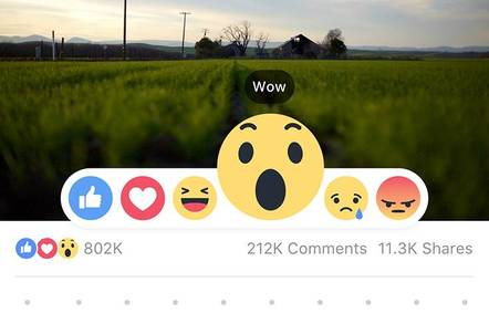 Image of landscape with Facebook Reaction icons