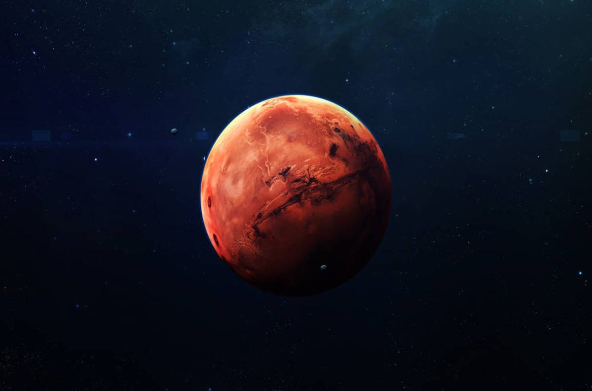 photo image Mars is red, Earth is blue. Here's a space laser story for you