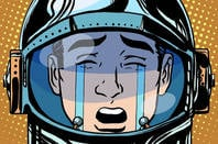 Weeping astronaut illustration via Shutterstock