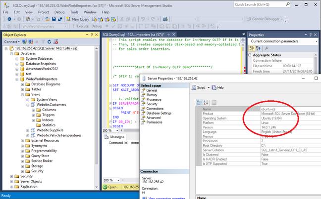 SQL Server Management Studio connected to a Linux instance