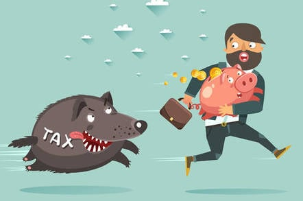 Hound of tax pursues man running with piggy bank...hound of tax pursues fleeing piggybank-clutching business suit guy