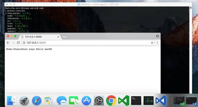 A screenshot of Microsoft's Node-ChakraCore on macOS