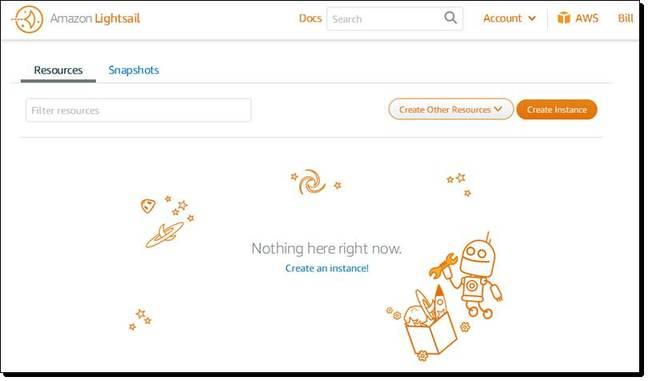 Amazon Lightsail screenshot