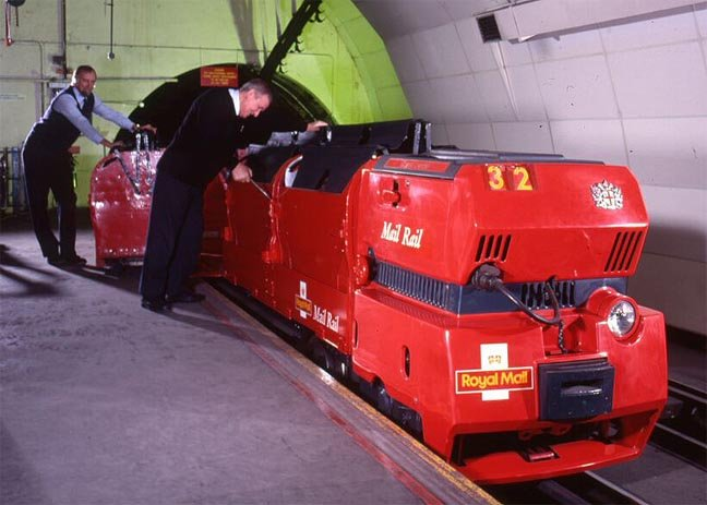 Red engine mail rail photo Royal Mail courtesy of The British Postal Museum and Archive