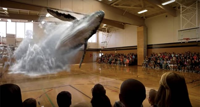 D Hologram Exhibition : Remember that amazing video of the whale leaping out the gym floor